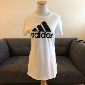 Adidas Women's White T-shirt, Classic Black Logo